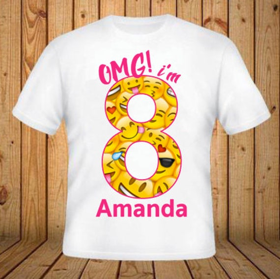 Emoji Birthday Shirt Add Any Name And Age Kids