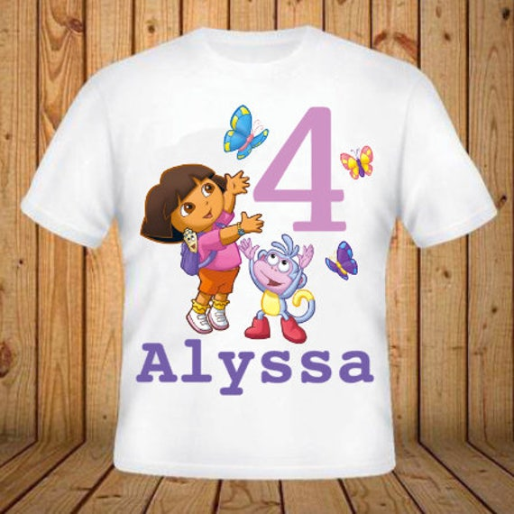 Kids Dora The Explorer Birthday Shirt Add Any Name And Age