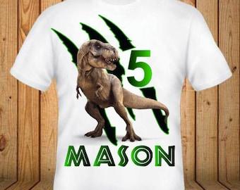 Dinosaur Birthday Shirt - Add Any Name and Age - kids Birthday Shirts