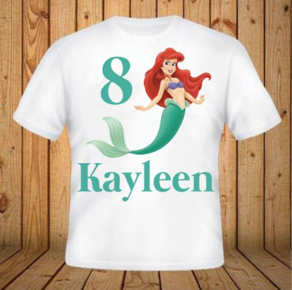 The Little Mermaid Birthday Shirt Add Any Name And Age