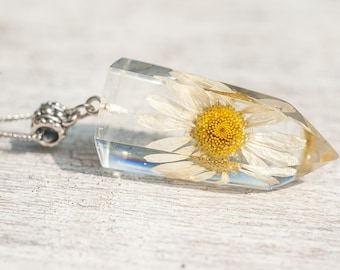 Daisy Necklace, Real Daisy Necklace, Real Flower Jewelry, Pressed Flowers, Boho Flower Necklace, Daisy Pendant, Real Dry Pressed Wildflower