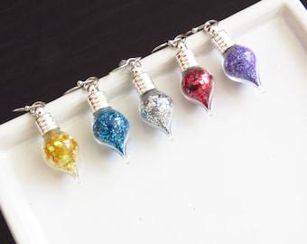 Stranger Things, Lilac Earrings, Vintage glass bottles, Colouring bulbs, Coloured lights