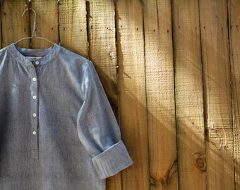 Shirt Dress - Handloom Cotton Light Grey