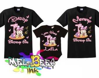 Disney Family Shirts Matching Birthday Girl Minnie Party Personalized ShirtsGift For FREE SHIPPING USA