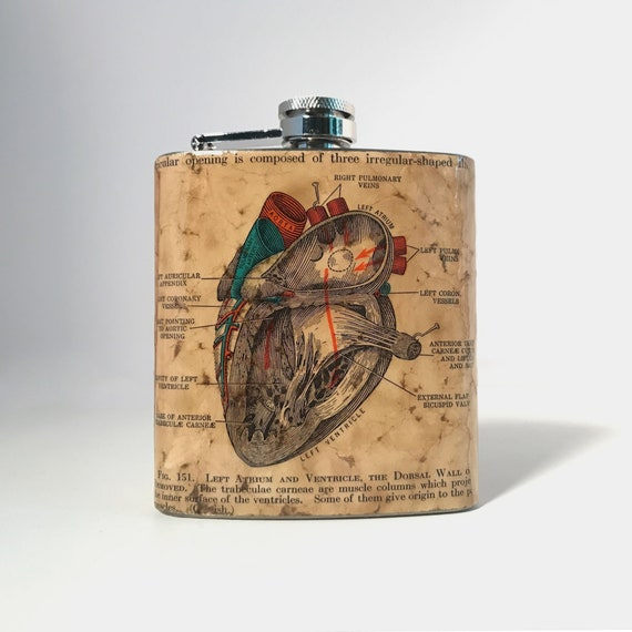 Medical Illustration Creepy Oddity Morbid Alcohol Hip Flask Men Women Flask Hand-Collaged Premium Authentic Vintage Human Anatomy Liver