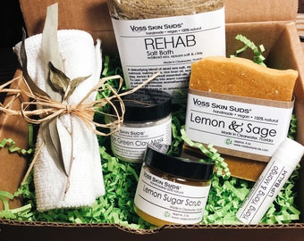 Citrus Spa Gift Set Collection – All-Natural, Vegan, Handmade - Lemon - Mineral Rich Skin Hydration, Rejuvination, Refreshing Scent, Gift