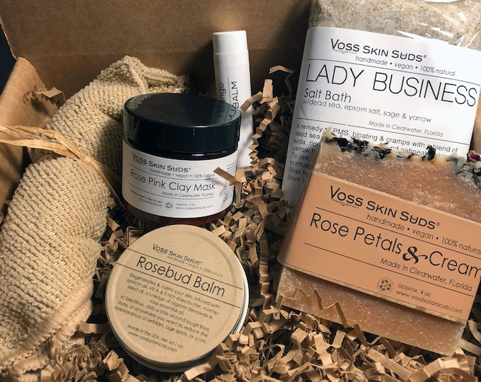 Featured listing image: Rose Spa Gift Set Collection – All-Natural, Handmade - Floral - Mineral Rich Skin Hydration - Relaxation & Restful Sleep - Gift - Luxury Spa