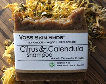 Shampoo Bar - Citrus - Calendula - Zero Waste - Vegan - Plastic Free - SLS Free - Citrus Fresh - Palm Free - Extra Bubbles - Eco Friendly