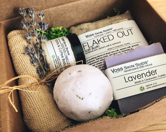 Lavender Spa Gift Set Collection – All-Natural, Vegan, Handmade - Floral - Mineral Rich Skin Hydration, Relaxation & Restful Sleep, Gift