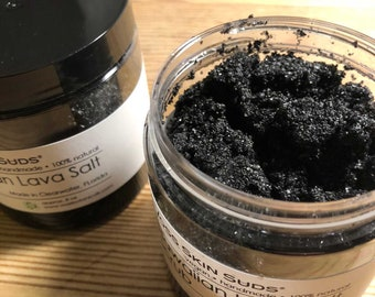 Sea Salt Scrub | Body Scrub | Charcoal Scrub | Exfoliating Salt | Black Salt | Spa Quality | Detox | Vegan | Mineral Rich | All Skin Types