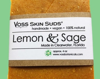 Lemon Soap | Lemon Citrus Soap | Sage Soap | Cold Process Soap | Oatmeal & Lemon Peel | Natural Glow | Citrus Zest | Oily skin Soap | Vegan
