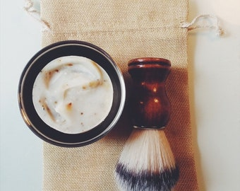 Shave Kit | Vegan Shave Bar | Natural Bristle Shaving Brush | Stainless Steel Shaving bowl | Groomsmen Gift | Gift for Him | Fathers DayGift
