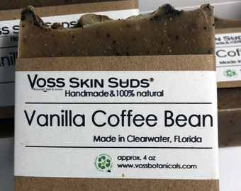 Coffee Soap | Vanilla Coffee Bean Soap | Natural | Handmade Soap | Cold Process Soap | Vegan | Exfoliating | Scrub Soap | Coffee Lover Soap