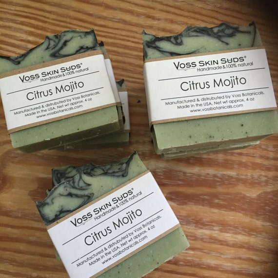 Citrus Mojito Soap | Mint Soap | Vegan | Lime & Spearmint Soap | Gift For Him | Gift For Her | Cold Process Soap | Purifying | All Natural