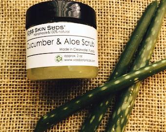 Body Sugar Scrub   Aloe Cucumber Scrub   Vegan   Exfoliating   Skin Brightening   Gift   Skin Care   Aloe   Burn Relief   Sunburn Aid