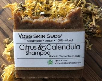 Shampoo Bar - Citrus - Calendula - Zero Waste - Vegan - Plastic Free - SLS Free - Citrus Fresh - Palm Free - Extra Bubbles - Eco Friendly