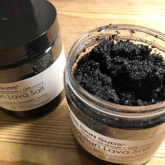 Sea Salt Scrub | Hawaiian Black Lava - Charcoal Scrub | Exfoliating Salt | Black Salt Scrub | Spa Quality | Detox | Vegan | Mineral Rich