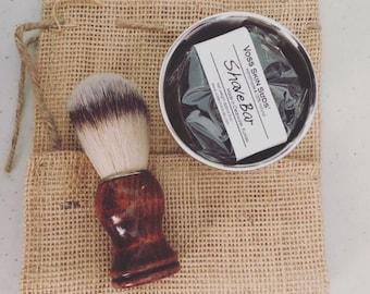 Man Gift   Shave Kit   Vegan Shave Bar   Natural Bristle Shaving Brush   Stainless Steel Shaving bowl   Groomsmen Gift   Gift for Him
