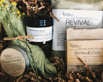 Get Well Spa Gift Set Collection – All-Natural, Vegan, Handmade - Relax - Mineral Rich Skin Hydration, Rejuvenating, Refreshing Scent, Gift