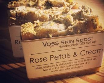 Rose Soap | Floral Soap | Rose Petals & Cream | Skin Moisturizer | Handmade | SLS Free | Rose Oil | Gift for her |  Vegan | Chamomile Soap
