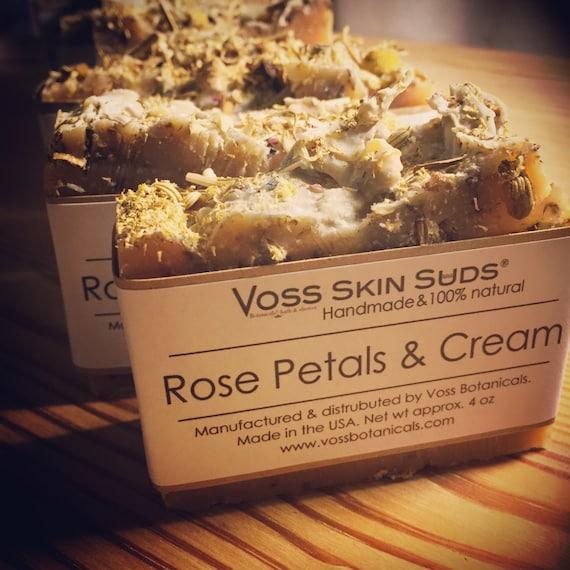Valentine Gift | Rose Soap | Floral | Rose Petals & Cream Soap | Skin Moisturizer | Handmade | SLS Free | Rose Oil | Gift for her