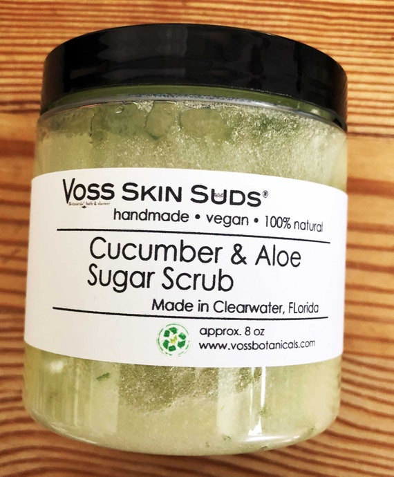 Aloe Vera Sugar Scrub | Cucumber Scrub | Vegan Scrub | Exfoliating | Skin Brightening | Gift | Skin Care | Aloe | Burn Relief | Sunburn Aid