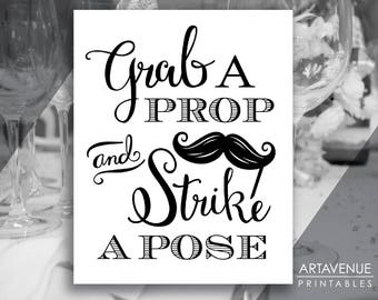 chic wedding photo sign printables grab a prop and strike a pose wedding downloads black and white wedding signs mustache party scbw29