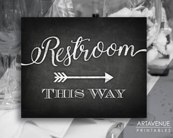 Chalkboard Chic Wedding Signs | Restroom This Way Sign | Restroom Sign Printables | Chalk Arrow Signs | Wedding Sign Downloads SCC69