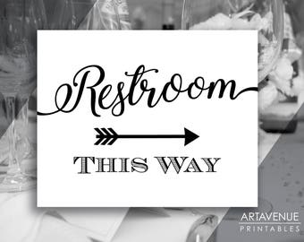 Chic Black and White Party Signs | Restroom This Way Sign | Restroom Sign Printables | Restroom Arrow Signs | Wedding Sign Downloads SCBW69