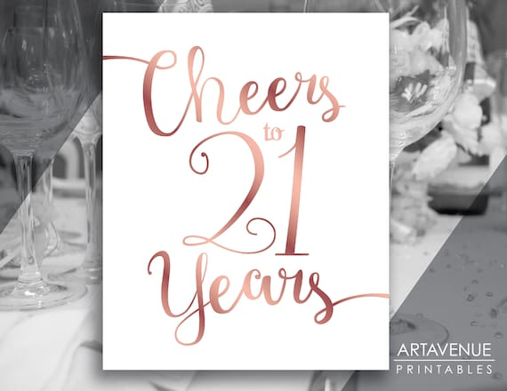 rose gold sign printables cheers to 21 years party sign etsy