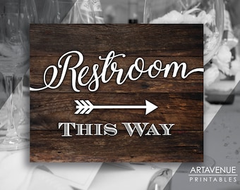 Rustic Chic Wedding Signs | Restroom This Way Sign | Restroom Sign Printables | Rustic Arrow Signs | Wedding Sign Downloads SCRW69