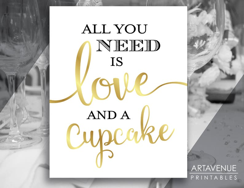 Gold Party Signs Digital Downloads Love and a Cupcake Sign Gold Chic Wedding Sign Printables Wedding Signs SCG32