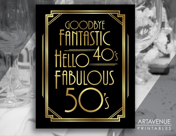 graphic relating to Printable 50th Birthday Signs identify Artwork Deco Social gathering Decor / 50th BIRTHDAY Indicators / Social gathering Printables, Get together Symptoms, Artwork Deco Bash Components - Black and Gold - ADBG1