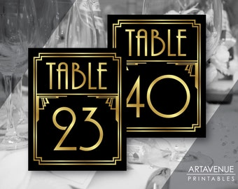 Printable Art Deco Table Number Signs 21-40, Gatsby Wedding, Roaring 20s Party Decor, Art Deco Party Supplies - Black and Gold - ADBG1