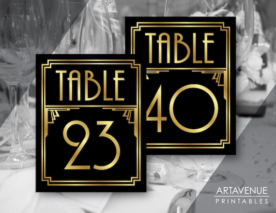 Printable Art Deco Table Number Signs 21 40 Gatsby Wedding Roaring 20s Party Decor Art Deco Party Supplies Black And Gold Adbg1
