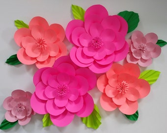 Pink paper flowers etsy bright pink nursery decor tropical pink paper flowers mightylinksfo