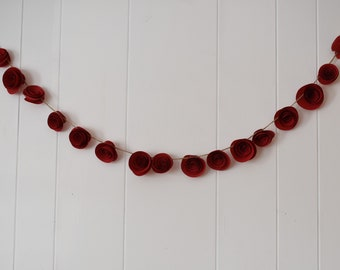 Paper Flower Garland, Red Garland, Paper Flowers, Red Wedding and Party Decor