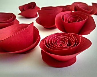 Red Christmas Decor - Red Paper Roses, Holiday Decoration