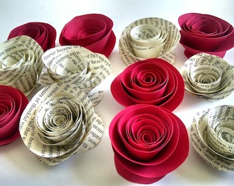 DIY Christmas Decorations - Red Paper Flowers - Book Page Roses - Red Christmas Decor - Gift Wrap Add On - Card Making Supplies