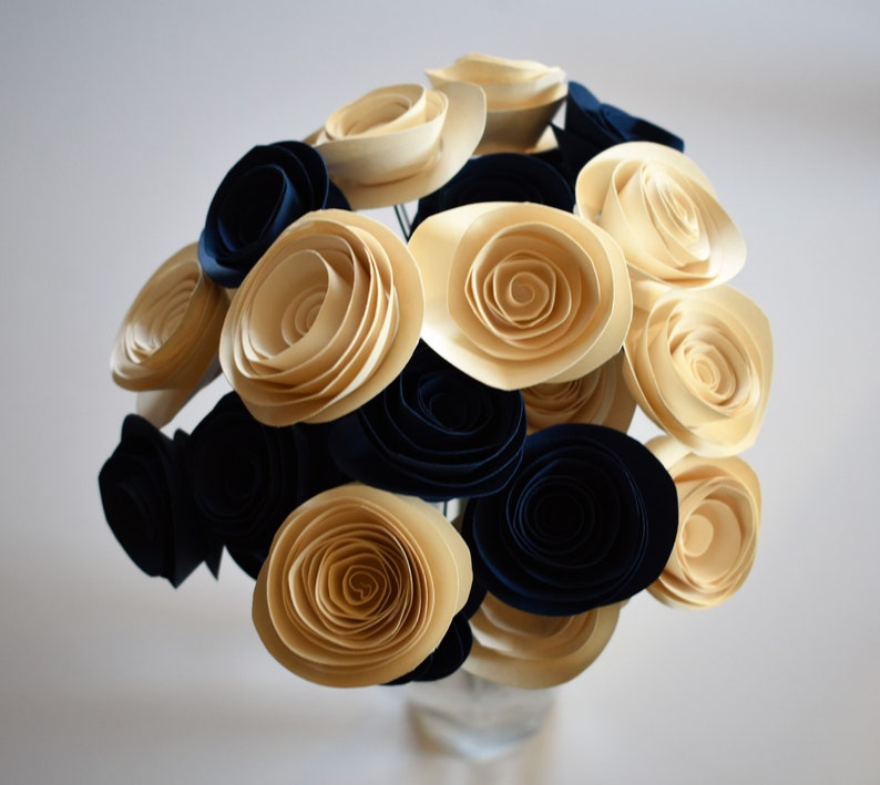 Navy Blue and Ivory Wedding Paper Flower Bouquet Bridal image 0