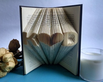Custom Folded Book Art, Anniversary Gift for Readers and Book Lover, Unique Gift for First Anniversary