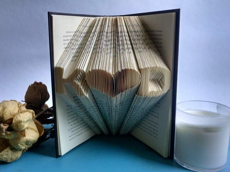 Custom Folded Book Art Anniversary Gift for Readers and Book image 0