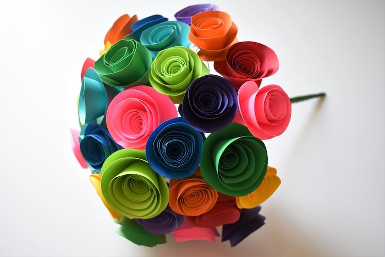 Rainbow Paper Flower Bouquet Colorful Paper Flowers image 0