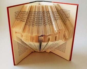 Literary Gifts for the Book Lover, Folded book Art Featuring the Word Family, Unique Gifts for Readers