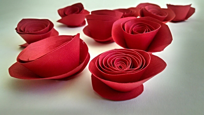 Red Paper Flowers Red Roses Red Table Decor image 1