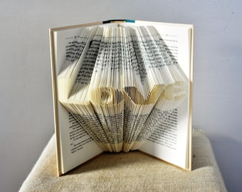 """Book Art Sculpture Featuring the Word """"Love"""" - Anniversary Folded Book Gift for the Book Lover"""