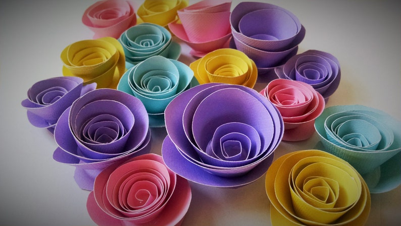 Spring Easter Decor Colorful Paper Flowers Table Decorations image 0