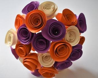 Purple, Orange, and Ivory Paper Flower Bouquet