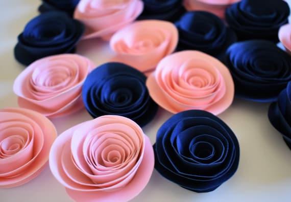 Navy Blue And Blush Pink Decor Paper Roses Wedding Decor Etsy
