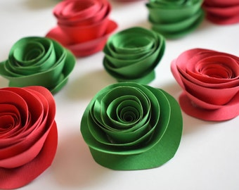 DIY Christmas Decor Ideas - Red and Green Holiday Decoration - Red and Green Paper Flowers - Table Decor - Christmas Wrapping Embelishment